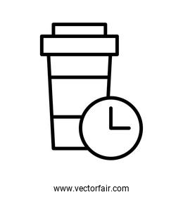 coffee cup and time clock delivery food line style icon