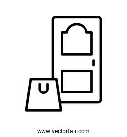 shopping bag in house door line style icon