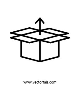 box carton with arrow up delivery service line style