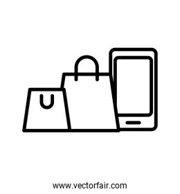 smartphone with shopping bags line style icon
