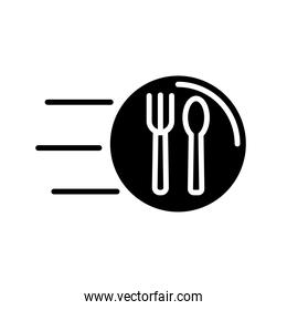 fork and knife speed delivery food silhouette style icon