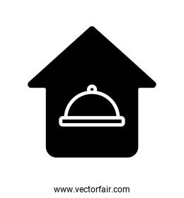 tray in house delivery food silhouette style icon