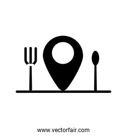 fork and knife in pin location delivery food silhouette style icon