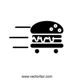 hamburger with wheels delivery food silhouette style icon
