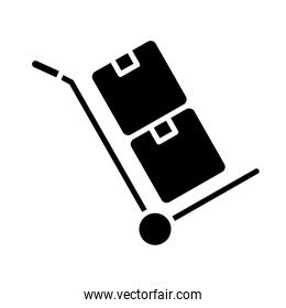 boxes in cart delivery service silhouette style icon