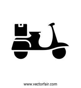 motorcycle vehicle with box delivery silhouette style
