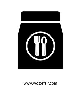 paper bag with fork and knife delivery food silhouette style icon