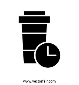 coffee cup and time clock delivery food silhouette style icon