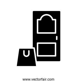 shopping bag in house door silhouette style icon