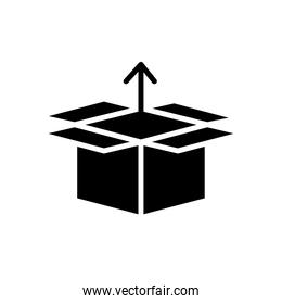 box carton with arrow up delivery service silhouette style
