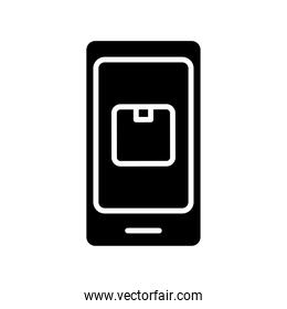 smartphone with box carton delivery service onsilhouette silhouette style