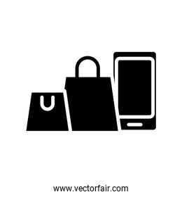 smartphone with shopping bags silhouette style icon
