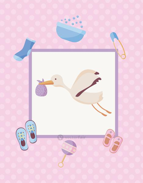 stork flying with baby bag and set icons
