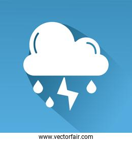 cloud rainy with thunder weather line style icon in blue background