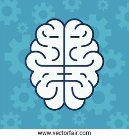 brain human organ with gears pattern line style icon