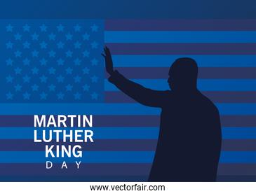 martin luther king silhouette celebration day in usa flag