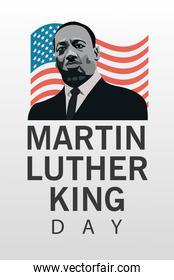 martin luther king character celebration day with usa flag