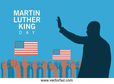 martin luther king silhouette celebration day with hand people protesting and usa flag
