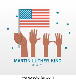 martin luther king day lettering with hands lifting usa flag