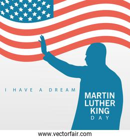 martin luther king silhouette celebration day with usa flag waving