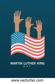martin luther king day lettering with hands and usa flag