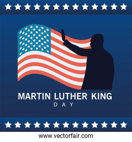 martin luther king silhouette celebration day with usa flag and stars frame