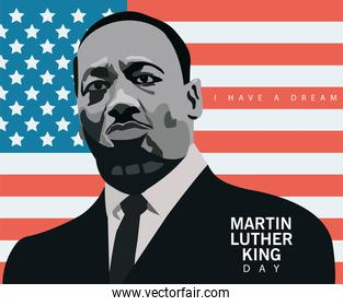 martin luther king character celebration day in usa flag