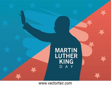 martin luther king silhouette celebration day with stars pattern