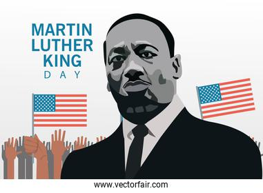 martin luther king character celebration day with hands people protesting and usa flags
