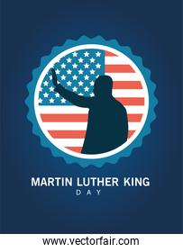martin luther king silhouette celebration day with usa flag lace frame
