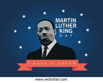 martin luther king character celebration day with lettering in ribbon frame