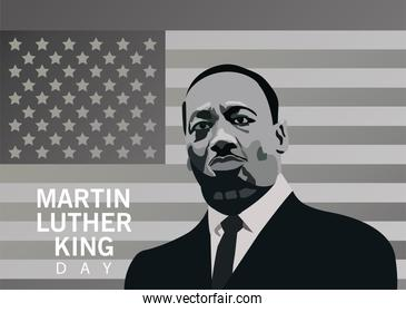 martin luther king character celebration day in monochrome usa flag