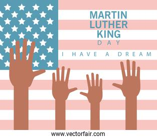 martin luther king day lettering with hands in usa flag