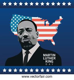 martin luther king character celebration day with usa flag in map