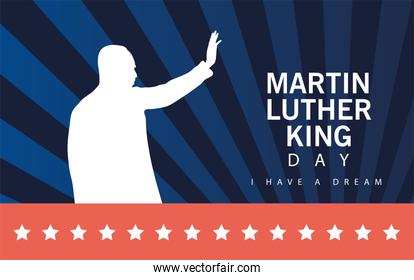 martin luther king silhouette celebration day with lettering and stars