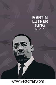 martin luther king character celebration day with hands around