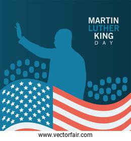 martin luther king silhouette celebration day with usa flag and lettering