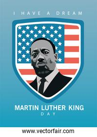 martin luther king character celebration day with usa flag in shield