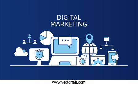 bundle of marketing digital set icons and lettering  in blue  background