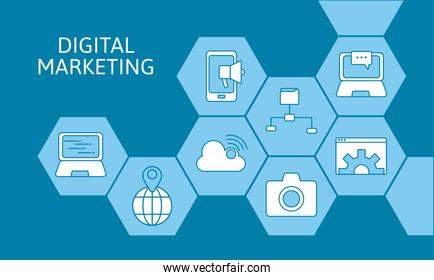 bundle of eight marketing digital set items and lettering