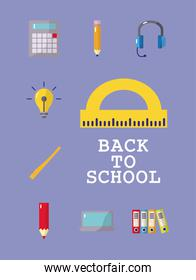 bundle of nine back to school set icons and lettering