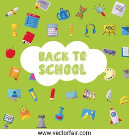 bundle of back to school pattern icons and lettering