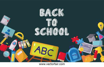 bundle of back to school set icons frame and lettering
