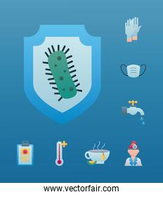 bundle of eight covid19 prevention set icons