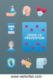 bundle of covid19 prevention set icons