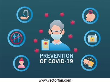 male doctor with covid19 prevention methods infographic
