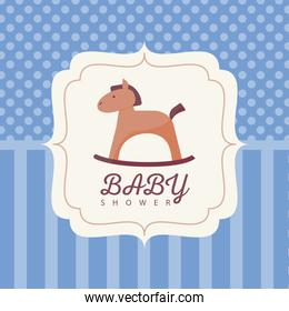 baby shower card with horse wooden baby toy and lettering in frame