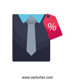 folded shirt and tie with price tag, colorful design