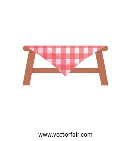 table with picnic tablecloth, colorful design