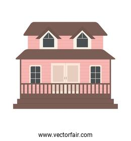 suburban pink house icon, colorful design